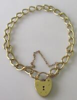 Vintage 9ct yellow gold curb (8.4g) bracelet, padlock and safety chain (7inch)