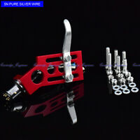 New 20/lot pure Silver wire CNC machined straight tonearm Angled RED headshell