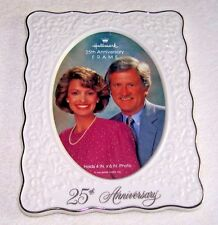 "Hallmark 25th Anniversary Photo Frame - Ceramic & Silver - Oval for 4""x6"" Photo"