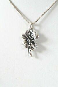 Sterling Silver Flower Pendant & Chain
