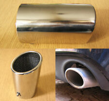 Stainless Steel Chrome Exhaust Tip 74mm Tail Pipe Sports Oval Trim Audi Style
