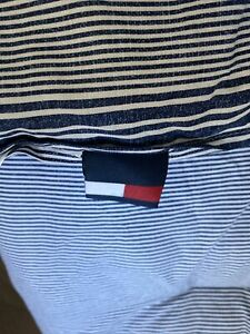 TOMMY HILFIGER  New Reversible Blue Stripe Cotton Nautical Comforter Queen 90x90