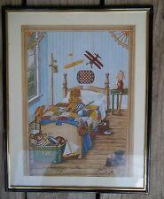 Vintage Kay Lamb Shannon Boys Bedroom Toys Sports Print Framed Matted 14 x 11