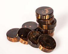 "VINTAGE 10 CATALIN BACKGAMMON Marbleize Brown 1 3/16"" (30mm)Diameter by BAKELITE"