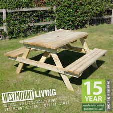 NEW STURDY 1500MM 5FT 5x5 5 FT WOODEN PICNIC BENCH PRESSURE TREATED PUB TABLE