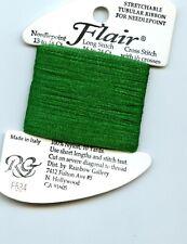 Rainbow Gallery Flair F534 Christmas Green Stretchable Tubular Ribbon Needlepnt