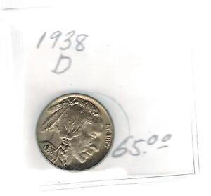 1938 D  USA Buffalo Nickel 5 cent Silver coin