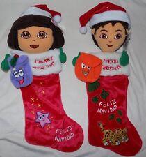 New Nick Jr DORA THE EXPLORER & Go DIEGO Plush Christmas Stockings