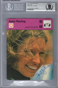 JANET GUTHRIE SIGNED 1803 SPORTSCASTER CARD AUTO RACING ENCAPSULATED BECKETT BAS