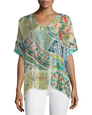 NWT Johnny Was Green Neill 100% washable silk Oversized Tunic Top Sz S M L