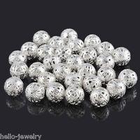50 Neu Versilbert Filigran Ball Perlen Beads 12mm D.