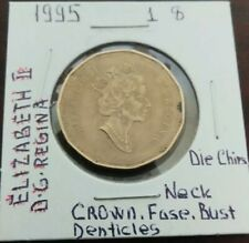 Canada $1 1995 Variety Die chips on ELIZABETH II, D.G REGINA, Queen, Denticles