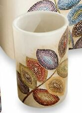 Colorful Mosaic Leaves Tumbler Bath Cup Modern Ceramic Bathroom Brush Gargle Fun