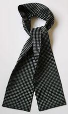 "Black & white rings hand printed silk cravat 40"" X 5"" Hand made in England"