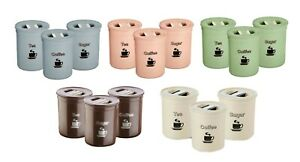 3 Piece Tea Coffee Sugar Canister Set 850ml Plastic Round Airtight Seal Storage