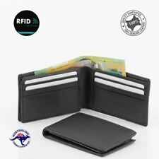 RFID Genuine Men's Soft Leather Small Slimmest Wallet Takes 9 Cards