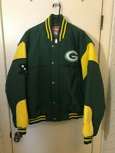 NUTMEG Quilt Lined GREEN BAY Logo with PACKERS Spell Out Jacket Men's Size L  EC