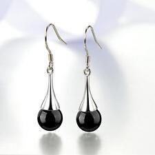 Popular jewelry 925 Sterling silver jewelry fashion Black onyx earrings Female