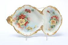 T&V Limoges France Divided Dish - Floral Design & Gold Gilding, Artist Signed