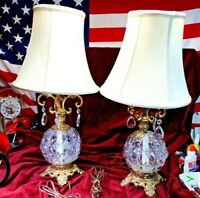 ⭐Vintage Pair of Clear Glass Hurricane 3-way Table Lamp Hanging Crystals⭐