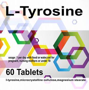 L TYROSINE Anxiety Stress Mood Antidepressant Insomnia Sleeping x 60 Tablets