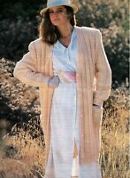 "Ladies Chunky Coat/Jacket Knitting Pattern Long Cardigan 32-38"" 1175"