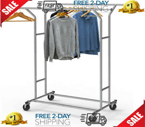 Double Rail Clothing Rack Rolling Clothes Shelf Boutique Garment Display Chrome