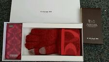 COACH Touch Tech Gloves & iPhone 5/5S Phone Case Gift Box Set Pink Red NIB $98