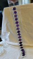 NEW Genuine Purple Amethyst Cabochon Gemstone Silver Bracelet Jewelry AWESOME !