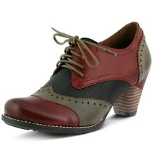 L'ARTISTE BARDOT RDM 39 8.5 LACE UP DERBY OXFORD RED LEATHER SHOES PUMP HEELS