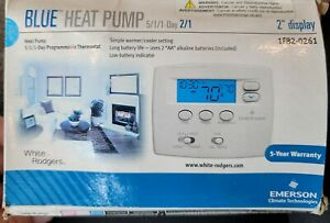 White Rodgers Blue Heat Pump 1F82-0261 5-1-1 Programmable Thermostat NEW