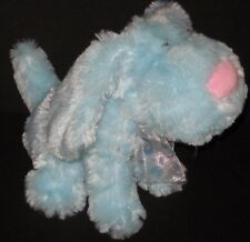 "DanDee Blue Plush Puppy Dog Pink Nose Mouth Polka Dot Bow 10"" Stuffed Animal Toy"