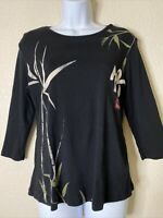 """Jess & Jane Womens Size S Back Asian Bamboo """"Wind Song"""" T-Shirt 3/4 Sleeve"""