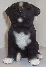 Sitting STAFFOSHIRE PITBULL Puppy Dog Life Like Figurine Statue Home/ Garden NEW