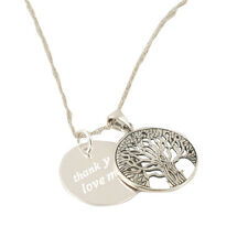 Personalised Engraved Necklace Pendant Fashion Family Tree Of Life Gift Silver