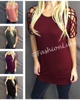 Lace Up Cold Shoulder Relaxed Fit Criss Cross Caged Sleeve Dolman Tunic Tee Top