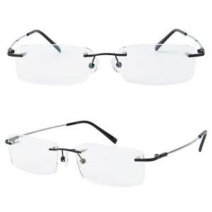 Memory Titanium Rimless Myopia Women Mens Optical Flexible Eyeglasses Frame Rx