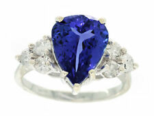 5.40ct Tanzanite & Diamond Cluster Ring in 14K White Gold