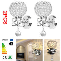 2pcs LED Modern Crystal Wall Lamp Sconce Bulb Bedroom Hallway Lighting Fixture