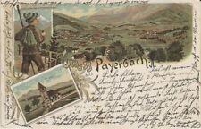 73432 - Litho Gruss aus Payerbach mit Kirche im Bezirk Neunkirchen 1901