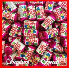 90 MINI LOVE HEART ROLLS WRAPPED PASTEL LOLLIES WEDDINGS CANDY BUFFET FAVOURS