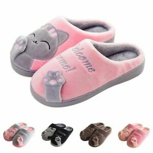 Women Winter Home Slippers Cartoon Cat Shoes Non-Slip Soft Winter Warm House