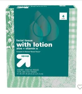 Up & Up Facial Tissue with Lotion 4 boxes 260 total 3-ply Tissues