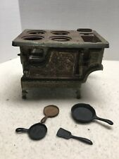 Antique Miniature Cast Iron Stove Crown with fry pans