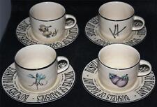 4 RETRO RAYWARE COUNTRY MARKET GARDEN VEGETABLE COFFEE TEA CUP & SAUCER SET