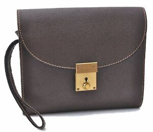 Authentic GUCCI Clutch Bag Leather Brown C5569