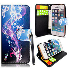 Case For iPhone 5 5S SE Leather Wallet Stand Flip Cover Free Screen Protector