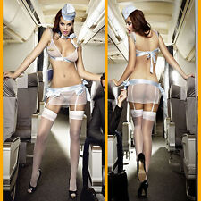 Sexy-Lingerie Sleepwear Flight Attendant Costume Sex Flirt Cosplay HOT Nightwear