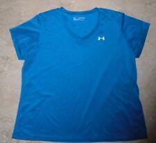 New listing Blue Blue/Gray Under Armour Heat Gear Loose Fit v-neck t-shirt Ladies 2XL XXL
