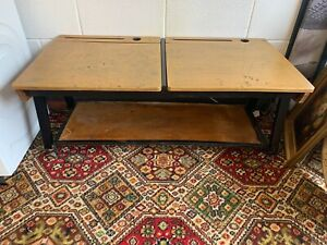 Vintage Old School Desk Coffee Table Mid Century Homemade Wooden Lift Up Lid VTG